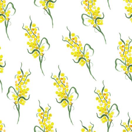 mimosa: Watercolor yellow mimosa seamless vector print