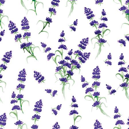 Watercolor violet lavender seamless vector print Vectores