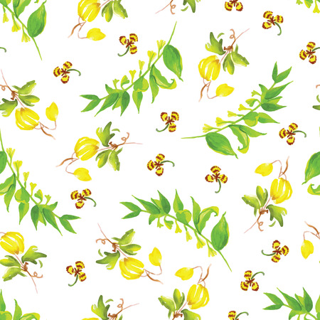 Summer herb and flowers watercolor seamless vector pattern Vector