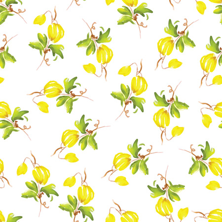 lemon grass: Yellow clematis flowers watercolor seamless vector print