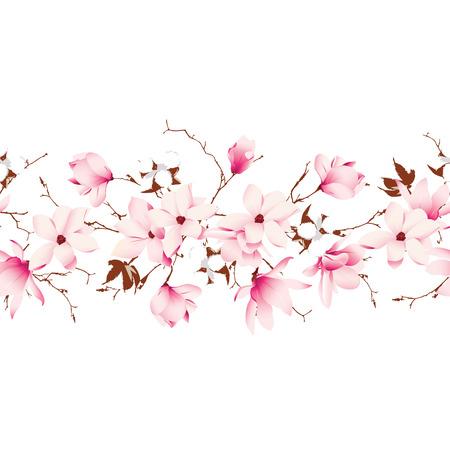 magnolia: Magnolia and cotton garland seamless horizontal vector banner