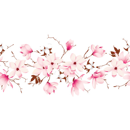 Magnolia and cotton garland seamless horizontal vector banner