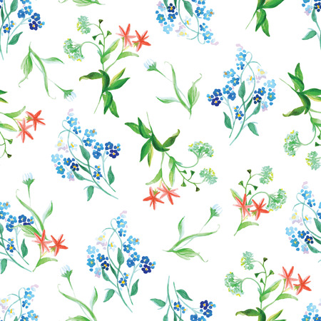 Forget-me-not and capsella flowers watercolor seamless vector print Vector