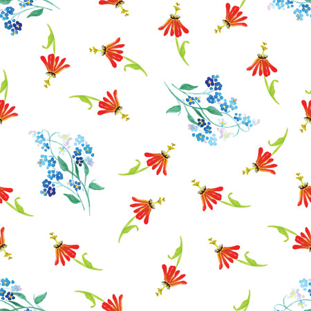 field of flowers: Forget-me-not and field flowers watercolor seamless vector print Illustration