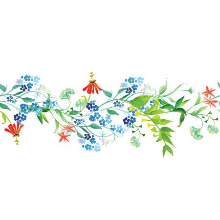 Meadow flowers watercolor seamless horizontal vector banner Vector