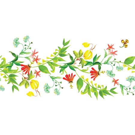 Summer flowers watercolor seamless horizontal vector banner Vector