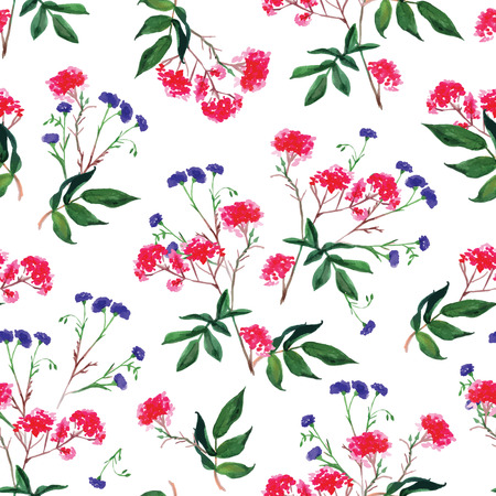 Red bunches and cornflower watercolor seamless vector print Vector