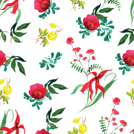 Roses and exotic flowers watercolor seamless vector print Vector