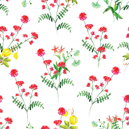 Summer meadow flowers watercolor seamless vector pattern