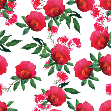 Watercolor wild red rose seamless vector pattern Vector