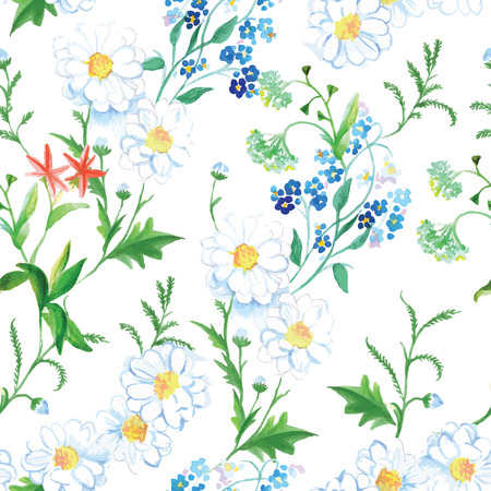 german chamomile: Blooming meadow summer floral seamless vector print Illustration
