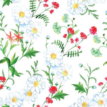 german chamomile: Red flowers and camomiles summer seamless vector print