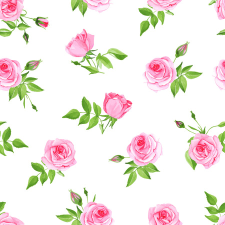 Vintage pink rose seamless vector print. Delicate retro floral pattern.