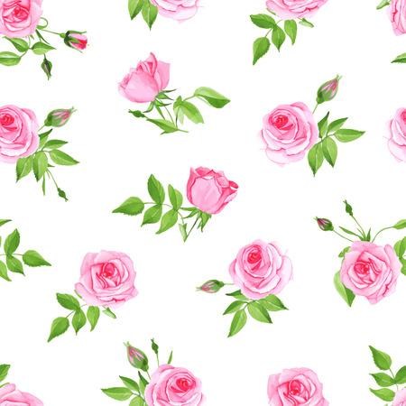 Vintage pink rose seamless vector print. Delicate retro floral pattern.