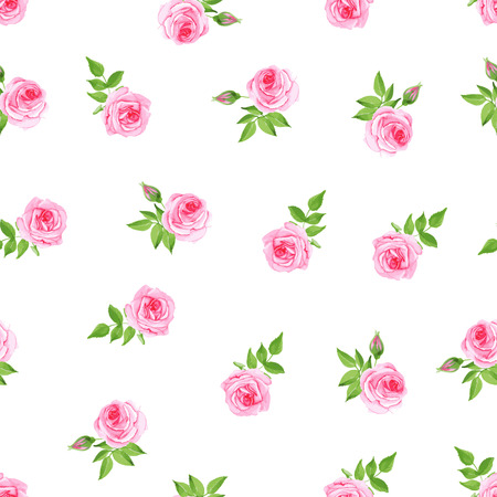 Delicate pink roses watercolor seamless vector print
