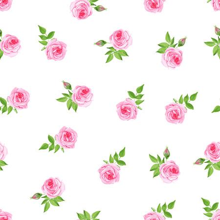 Delicate pink roses watercolor seamless vector print