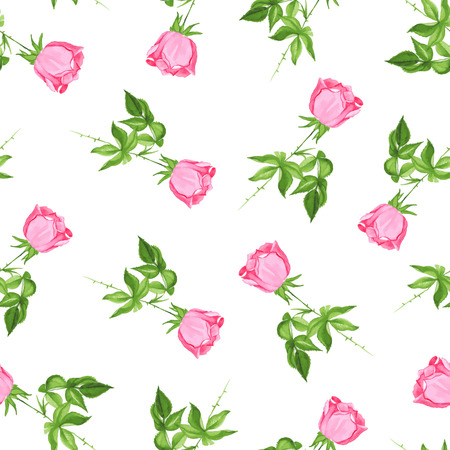 Single roses watercolor seamless vector print. Delicate retro floral pattern.