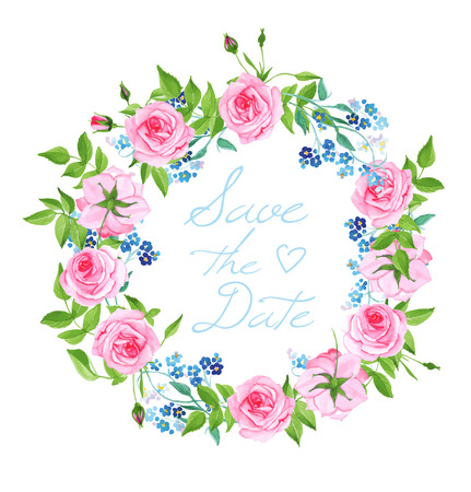 Forget-me-nots and roses wedding wreath vector card