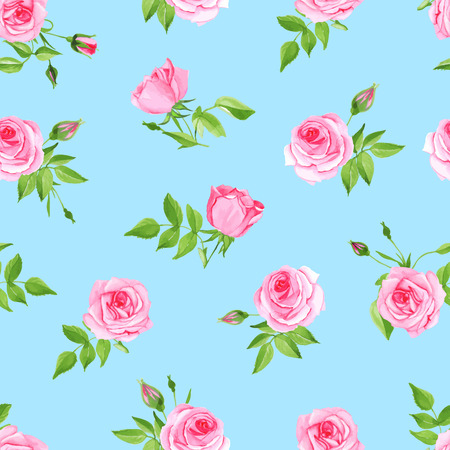Vintage delicate blue seamless vector print. Rose retro pattern. Çizim
