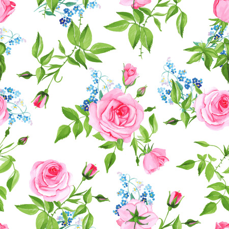 Forget-me-nots and pink roses seamless vector print Çizim
