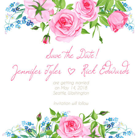 pink wedding: Forget me nots and pink roses floral design frame vector element Illustration