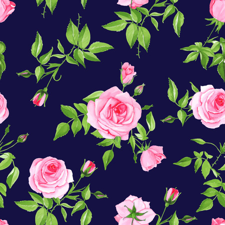 Vintage navy with pink rose seamless vector print. Contrast retro floral pattern. Çizim