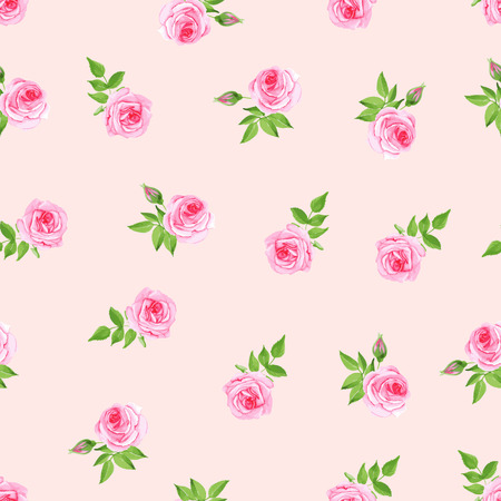 Delicate beige roses watercolor seamless vector print  イラスト・ベクター素材