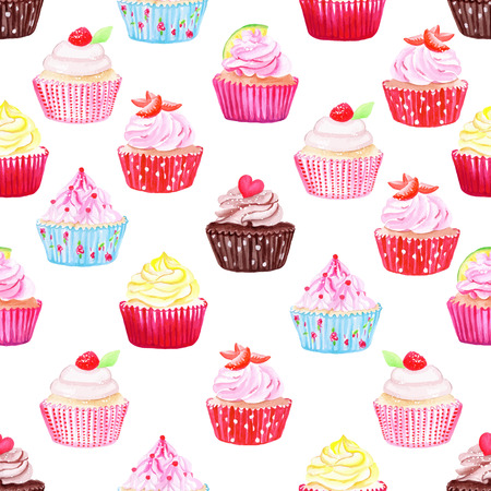Watercolor cupcakes vector seamless pattern. Hand drawn background.