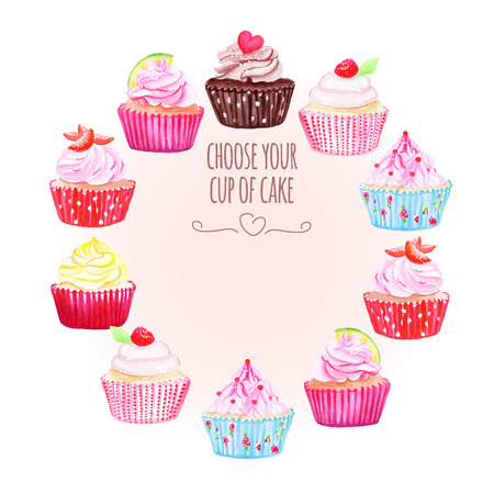 Colorful cupcakes vector design round frame. All elements are isolated and editable.