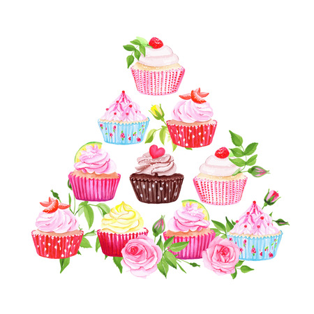 chocolate cupcake: Colorful cupcakes and roses vector pyramid design element