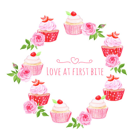 wedding table decor: Cupcakes table vector design round frame. All elements are isolated and editable. Illustration