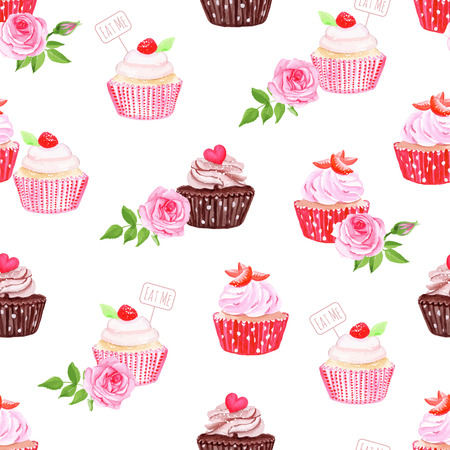 Chocolate and strawberry cupcakes seamless vector print Vector