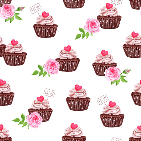 chocolate cupcake: Chocolate sugar powdered cupcakes with hearts seamless vector print Illustration