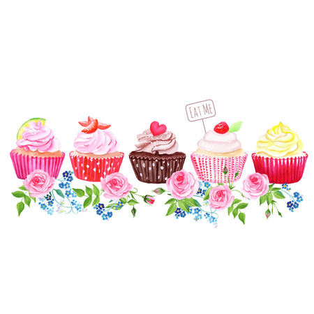 eat me: Colorful cupcakes with flowers vector design stripe. All elements are isolated and editable. Illustration