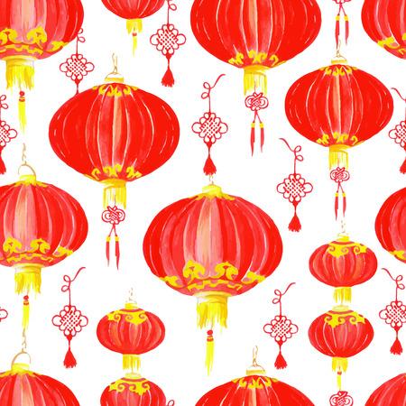 동양 중국어 등불 수채화 원활한 벡터 패턴 일러스트