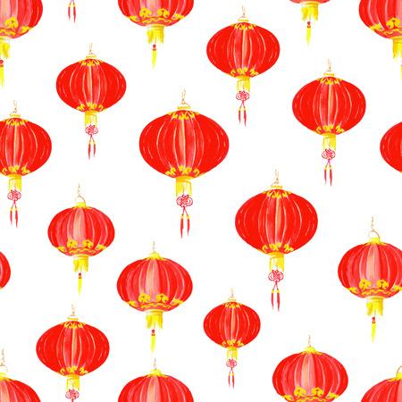 paper lantern: Asian paper lantern watercolor seamless vector pattern
