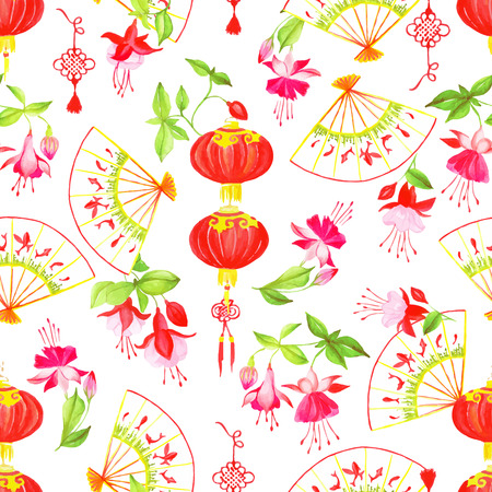 yellow tassel: Asian lanterns, fuchsia and fans watercolor seamless vector pattern