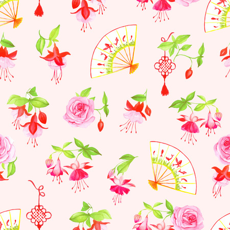 Chinese fuchsia, roses and fans watercolor seamless vector pattern Vector