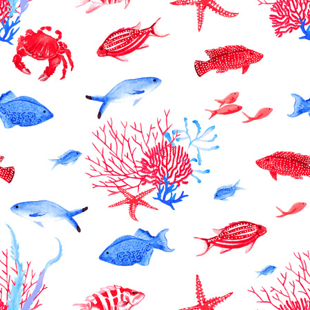 crab: Red and blue underwater watercolor seamless vector pattern Illustration
