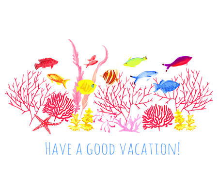 wishing: Wishing a good vacation watercolor vector design set. All elements are isolated and editable.