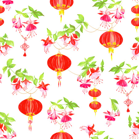 Oriental lanterns floral watercolor seamless vector pattern