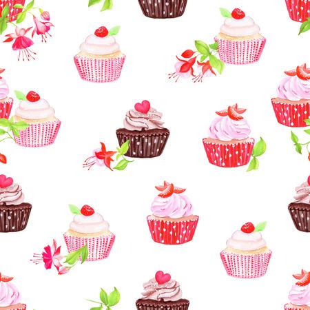 flores fucsia: Chocolate y fresa cupcakes con flores fucsias impresión inconsútil del vector