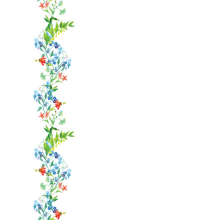 Meadow flowers watercolor seamless vertical background Vector
