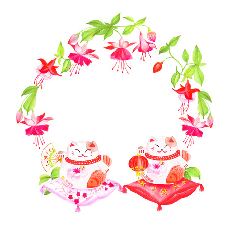 neko: Chinese fuchsia and lucky cats sitting on the pillows watercolor design frame