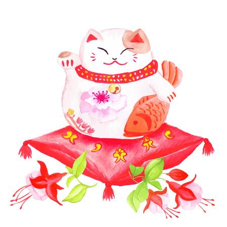 fuchsia: Gato de la suerte chino sentado en la almohada roja con fucsia y agitando la pata. Vectores