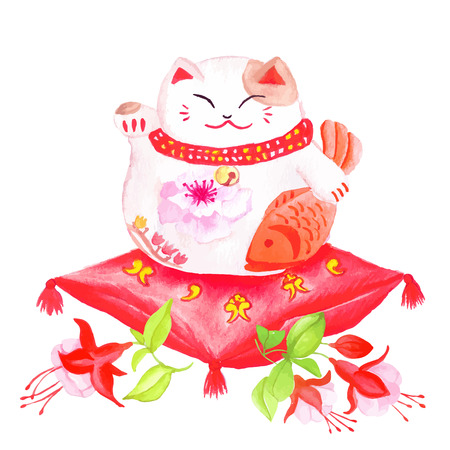 Chinese lucky cat sitting on the red pillow with fuchsia and waving paw.