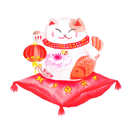 maneki neko: Chinese lucky cat sitting on the red pillow and holding the lantern. Illustration