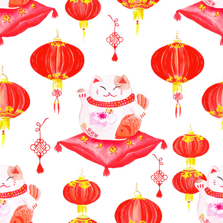 maneki neko: Oriental styled print with lanterns and lucky cats.