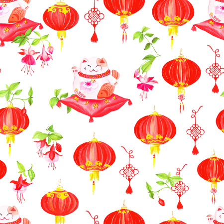 neko: Chinese styled print with lanterns, fuchsia and lucky cats.