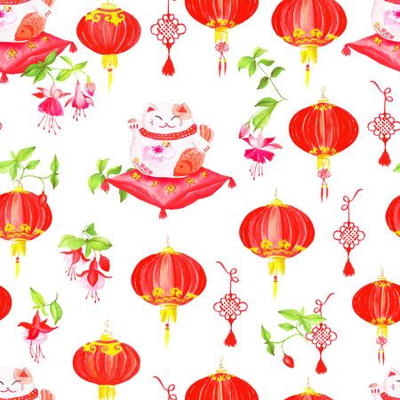 fuchsia: Impresi�n china de estilo con linternas, fucsia y gatos de la suerte.